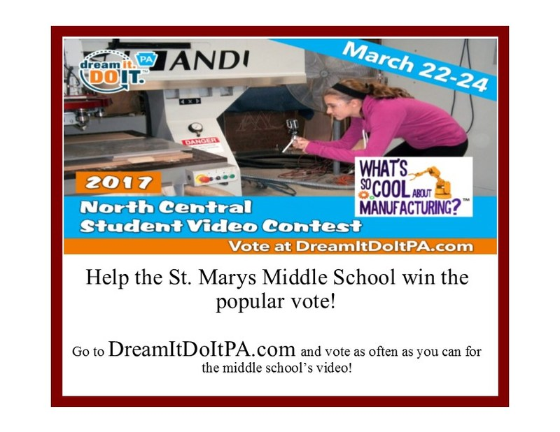 "Please Help the St. Marys Middle School ""Dream it Do It"" video team win the popular vote in the ""What's So Cool About Manufacturing"" video contest Thumbnail Image"
