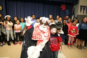 MISD Superintendent gets pied in the face by a student at Presidential Meadows Elementary.