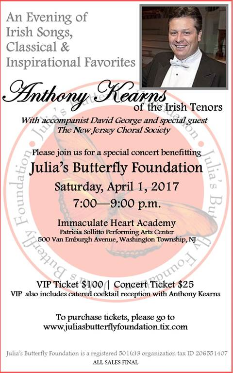 Anthony Kearns Concert to Benefit Julia's Butterfly Foundation Thumbnail Image