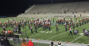 Band performing on football field