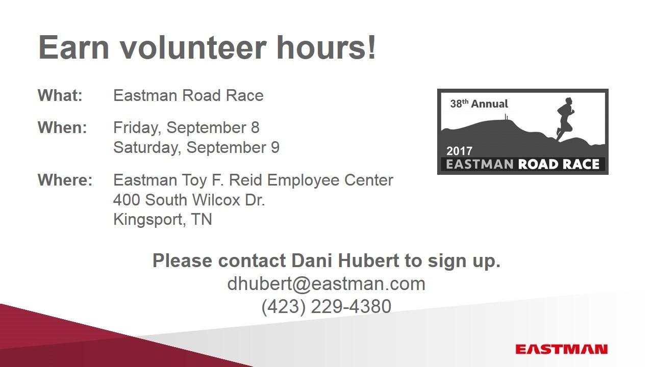 Volunteer Eastman Race